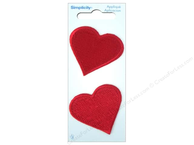 Simplicity Iron On Applique Large Red Heart