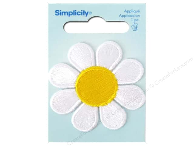 Simplicity Sew On Applique White & Yellow Daisy