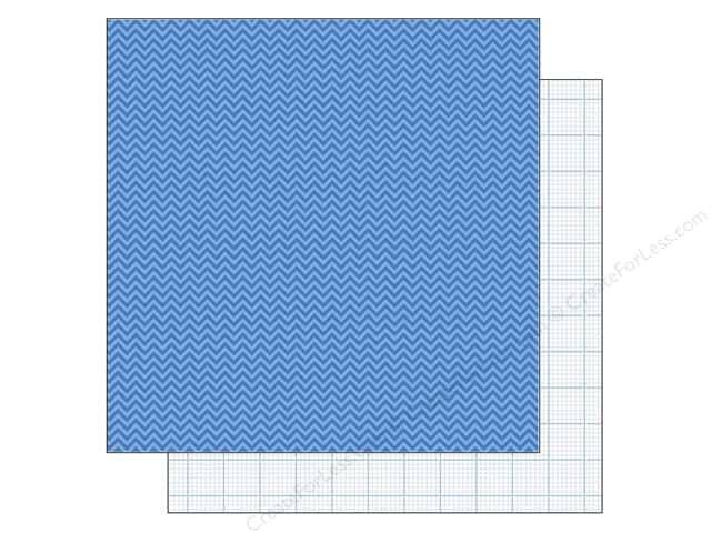 Doodlebug 12 x 12 in. Paper Kraft In Color Blue Jean Chevron (25 sheets)