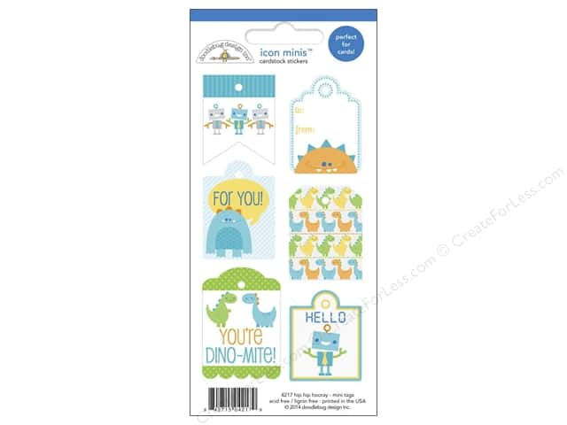 Doodlebug Sticker Icon Minis Hip Hip Hooray Tags (12 sets)