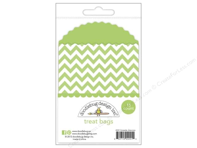 Doodlebug Embellishment Kraft In Color Treat Bags Chevron Limeade