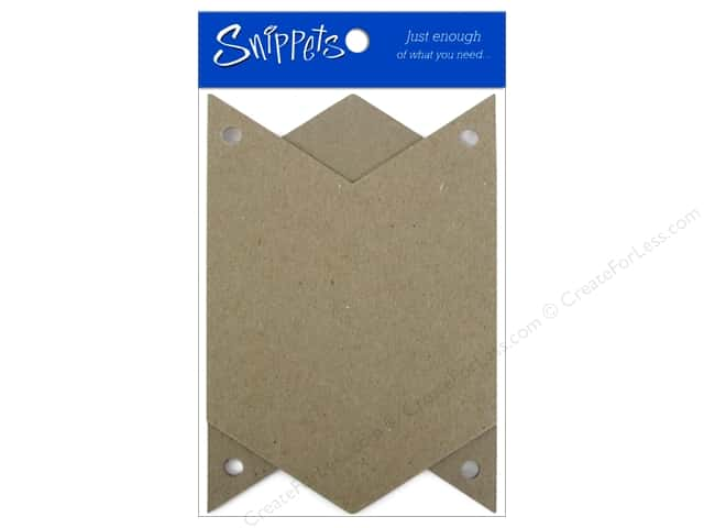 Paper Accents Chipboard Pennants 4 x 6 in. Chevron 3 pc. Natural