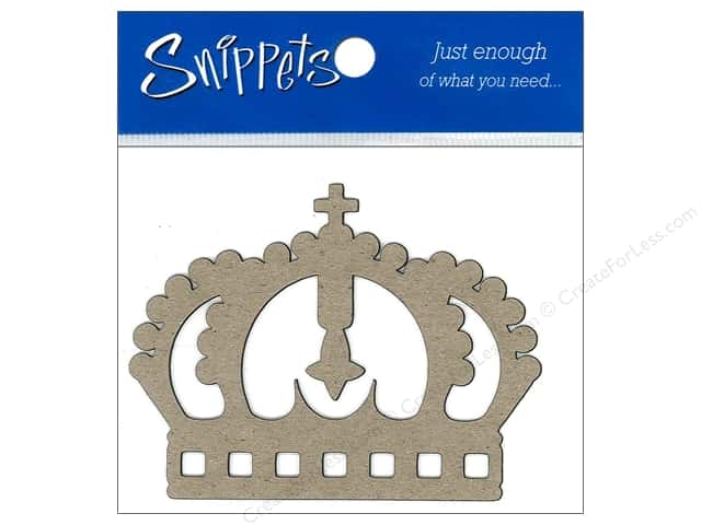 Paper Accents Chipboard Shape Crown 3 pc. Natural