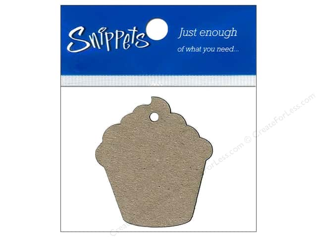 Paper Accents Chipboard Shape Cupcake Tag 4 pc. Natural