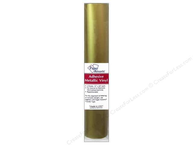 Paper Accents Adhesive Vinyl 12 x 24 in. Removable Metallic Gold 2 pc.