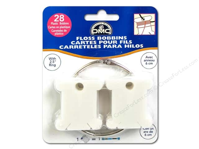 DMC Floss Bobbins 28 pc. Plastic with Metal Ring
