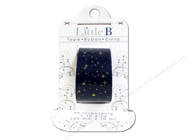 Little B Decorative Paper Tape 1 in. Silver Foil Starry Night