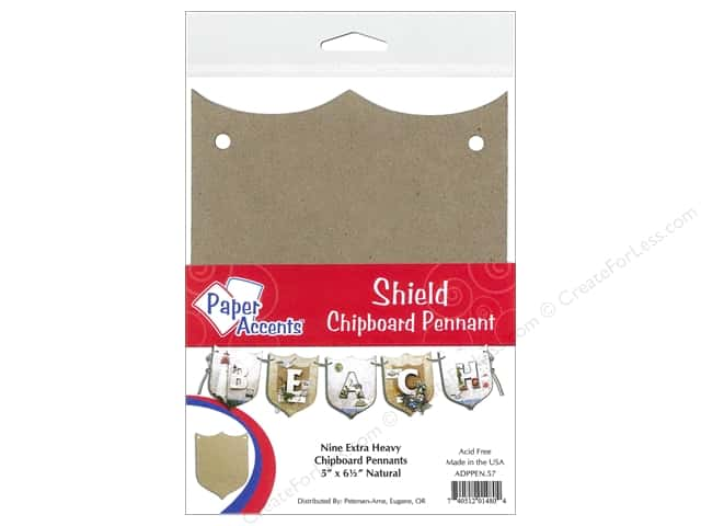 Paper Accents Chipboard Pennants 5 x 6 1/2 in. Shield 9pc Kraft