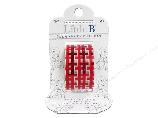 Little B Decorative Paper Tape 1 in. Red Foil Gingham