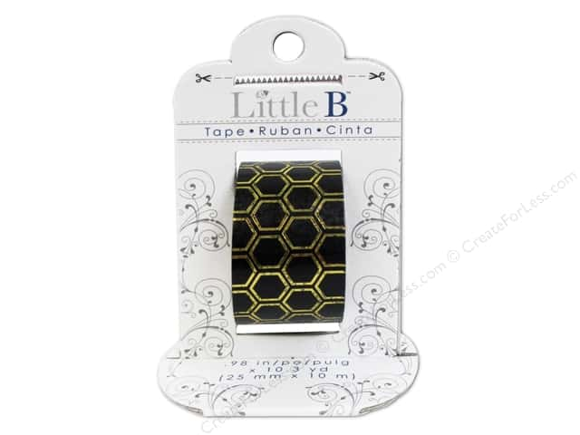 Little B Decorative Paper Tape 1 in. Gold Foil Black Honeycomb