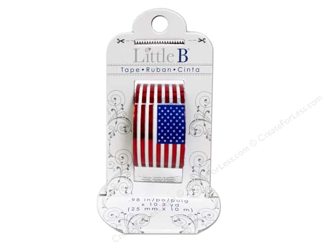 Little B Decorative Paper Tape 1 in. Red Foil US Flags