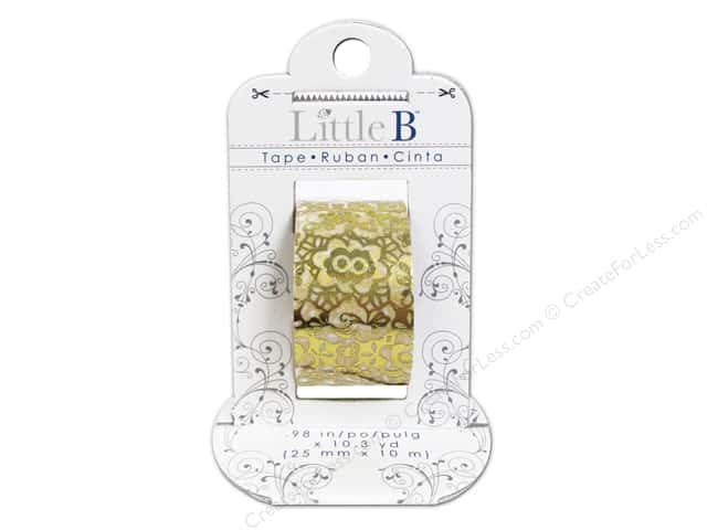 Little B Decorative Paper Tape 1 in. Gold Foil Floral