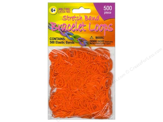 Pepperell Stretch Band Bracelet Loops Orange 500pc