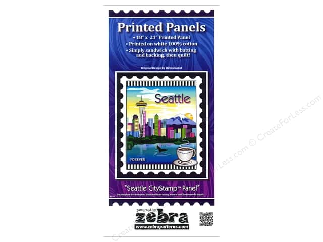 Zebra Patterns Printed Fabric Panel 18 x 21 in. Seattle CityStamp