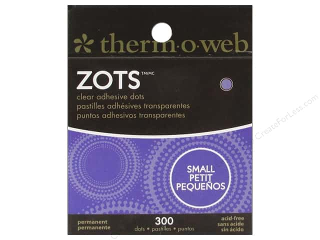 Therm O Web Zots Clear Adhesive Dots 300 pc. 3/16 x 1/64 in. Small