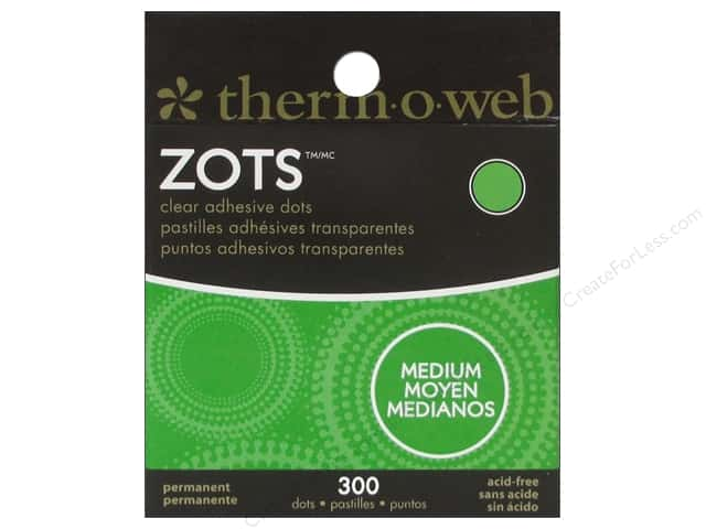 Therm O Web Zots Clear Adhesive Dots 300 pc. 3/8 x 1/64 in. Medium