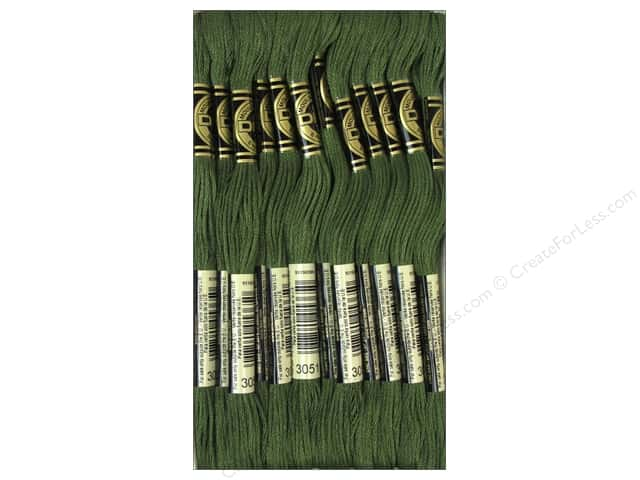 DMC Six-Strand Embroidery Floss #3051 Dark Green Grey (12 skeins)