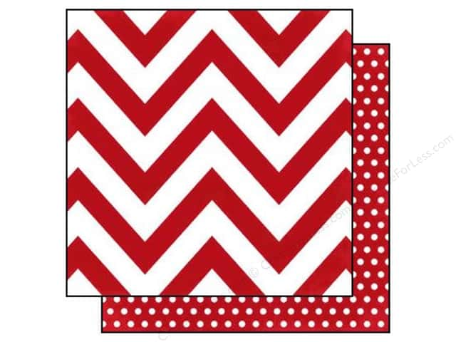 Simple Stories 12 x 12 in. Paper DIY Boutique Red Chevron & Dots (25 sheets)