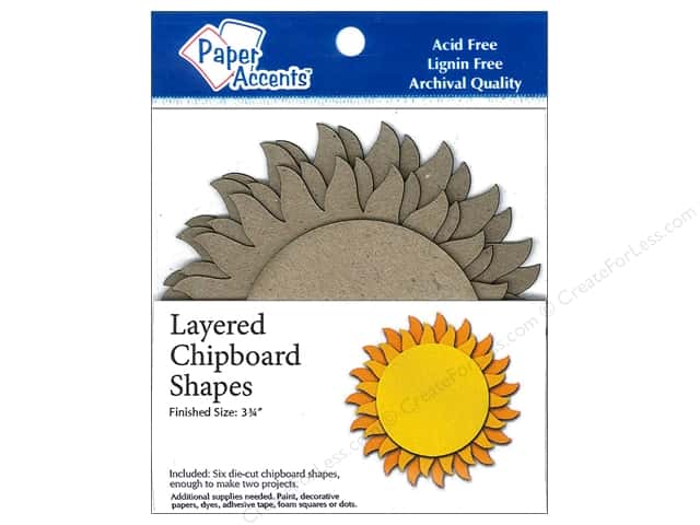 Paper Accents Layered Chipboard Shapes Sun 6 pc. Kraft