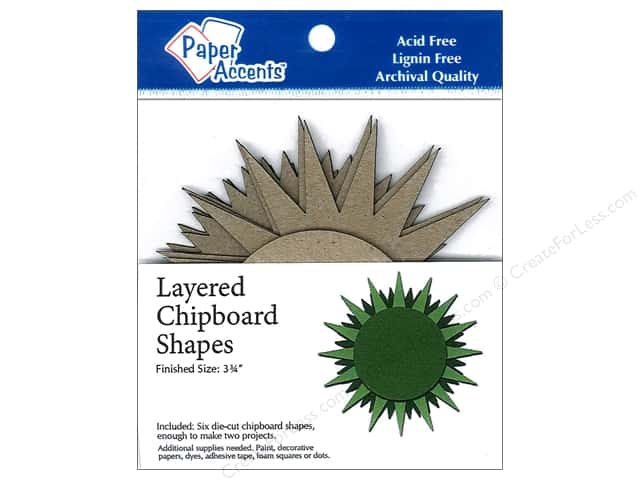 Paper Accents Layered Chipboard Shapes Starburst 6 pc. Kraft
