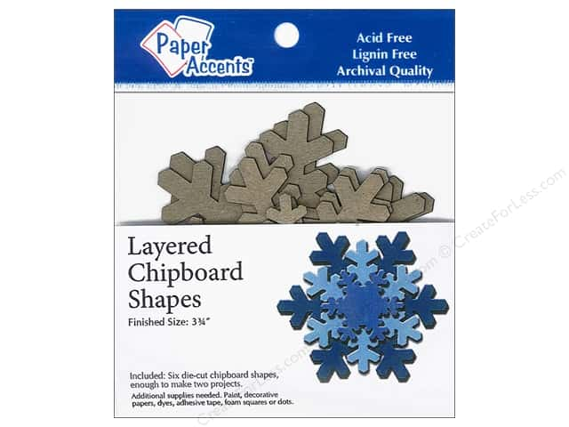 Paper Accents Layered Chipboard Shapes Snowflake 6 pc. Kraft