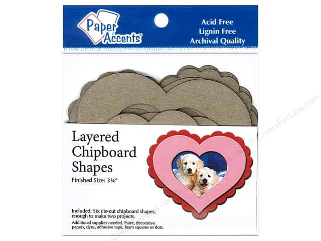 Paper Accents Layered Chipboard Shapes Hearts 6 pc. Kraft