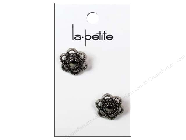 LaPetite Shank Buttons 3/4 in. Flower Antique Silver #2002 2 pc.