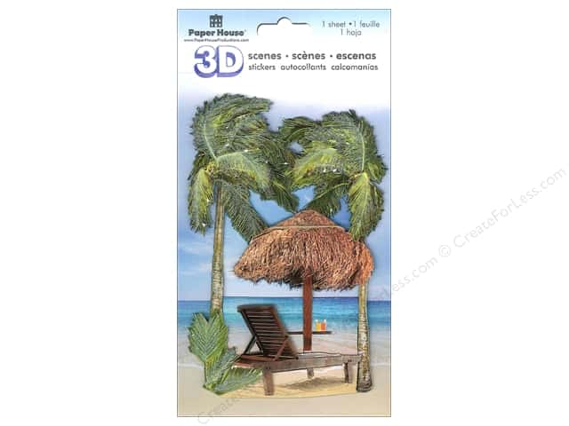 Paper House 3D Stickers - Beach Chair & Palms