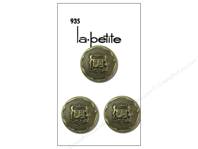 LaPetite Shank Buttons 3/4 in. Gold with Crest #935 3 pc.
