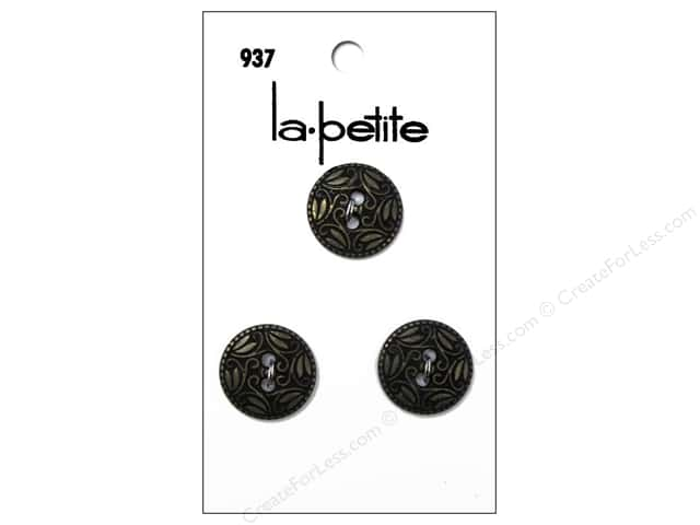 LaPetite 2 Hole Buttons 5/8 in. Antique Gold #937 3 pc.