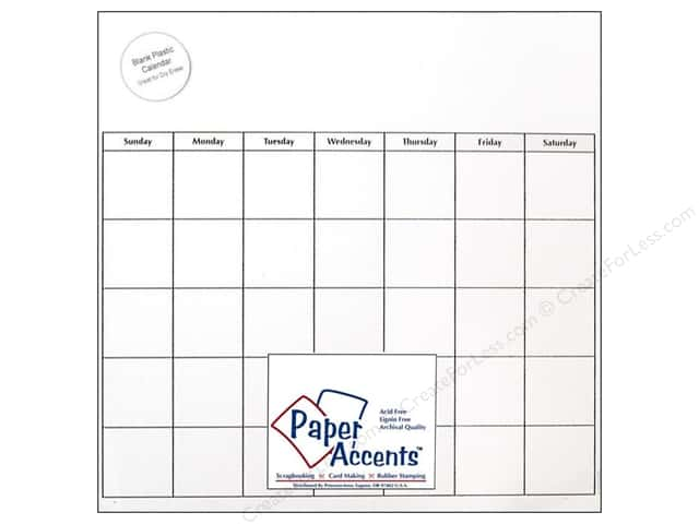 Paper Accents Plastic Calendar Page 12 x 12 in. Clear 1 pc.