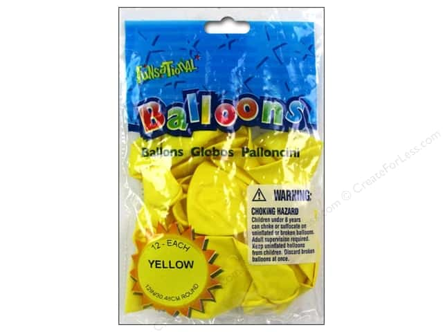 "Pioneer National Latex Balloons Funsational Deco 12"" 12pc Yellow"