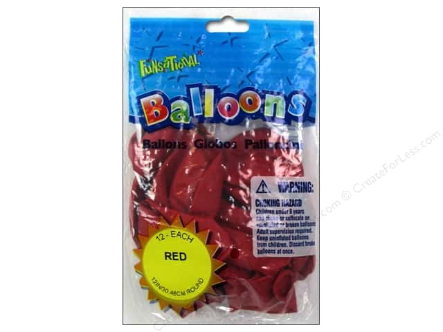 "Pioneer National Latex Balloons Funsational Deco 12"" 12pc Red"