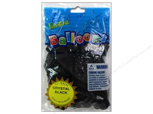 "Pioneer National Latex Balloons Funsational Deco 12"" 12pc Crystal Black"