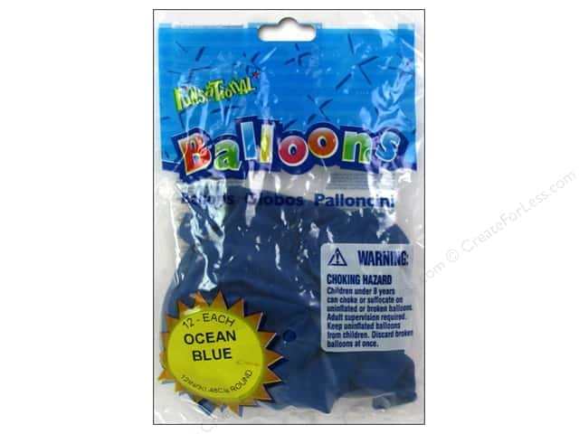 "Pioneer National Latex Balloons Funsational Deco 12"" 12pc Ocean Blue"