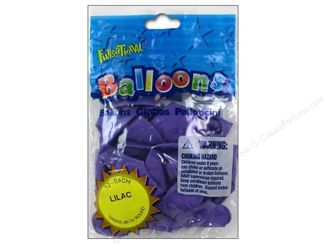 """Pioneer National Latex Balloons Funsational Deco 12"""" 12pc Lilac"""