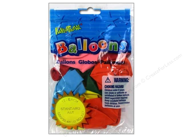 "Pioneer National Latex Balloons Funsational Deco 12"" 12pc Assorted"