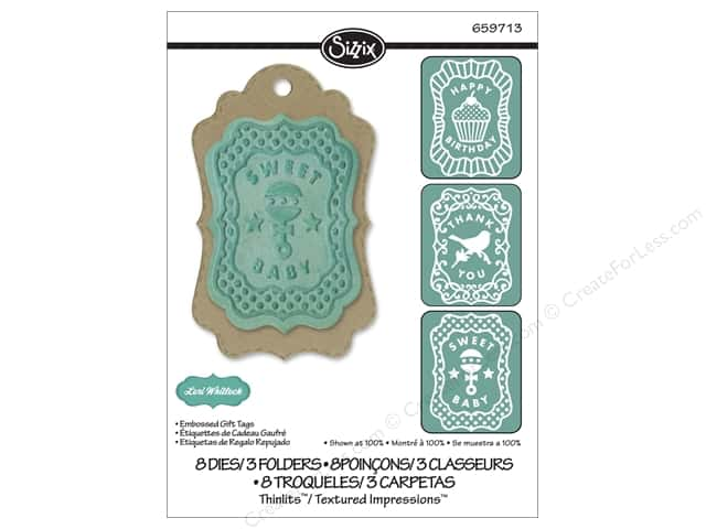 Sizzix Thinlits Die Set 8 pc. Embossed Gift Tags with Textured Impressions
