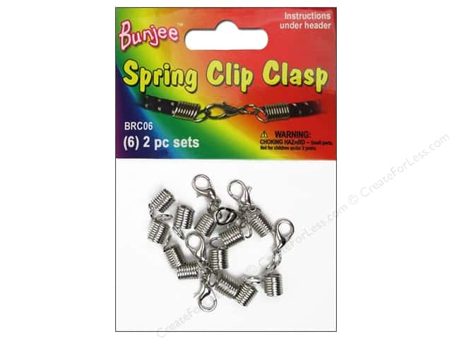 Pepperell Bungee Cord Bracelet Spring Clip Clasp 6pc