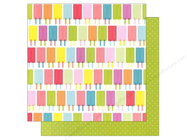 American Crafts 12 x 12 in. Paper Summer Collecton Popsicles (25 sheets)