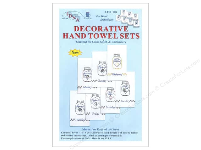 Jack Dempsey Decorative Hand Towel Mason Jar Day Week 7pc