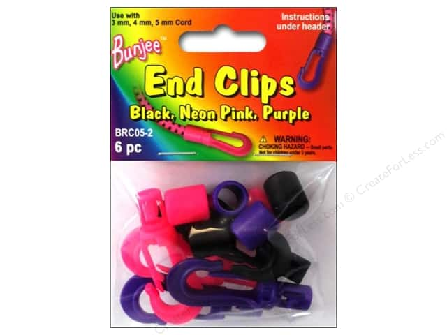 Pepperell Bungee Cord Bracelet End Clips Black/Neon Pink/Neon Purple 6pc