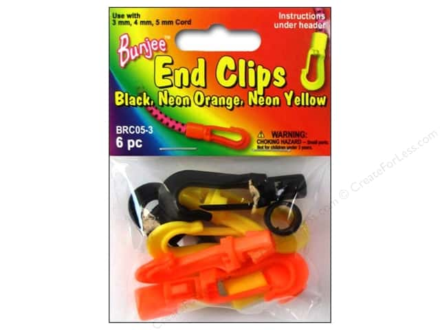 Pepperell Bungee Cord Bracelet End Clips Black/Neon Orange/Neon Yellow 6pc