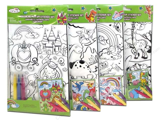 Multicraft Krafty Kids Sticker 3D Pop-Up With Markers Assorted 4 Styles (24 sets)