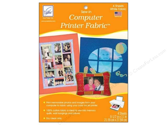 June Tailor Computer Printer Fabric Sew-In Inkjet Fabric Sheets 4 pc. White