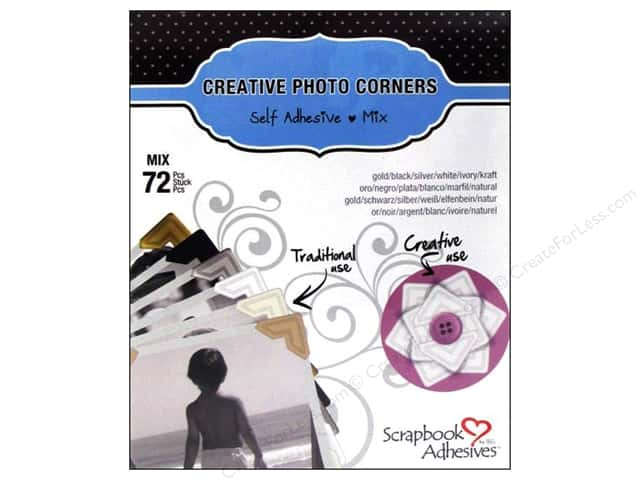 3L Scrapbook Adhesives Photo Corners Paper 72 pc. Mix Pack