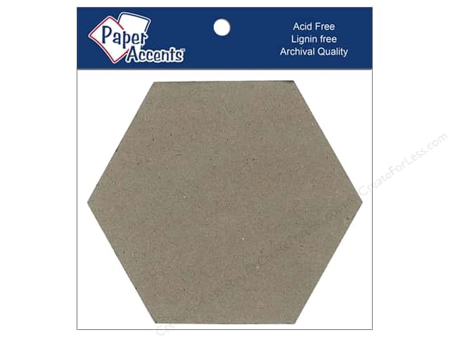 Paper Accents Chipboard Shape 4 in. Hexagon 8 pc. Kraft