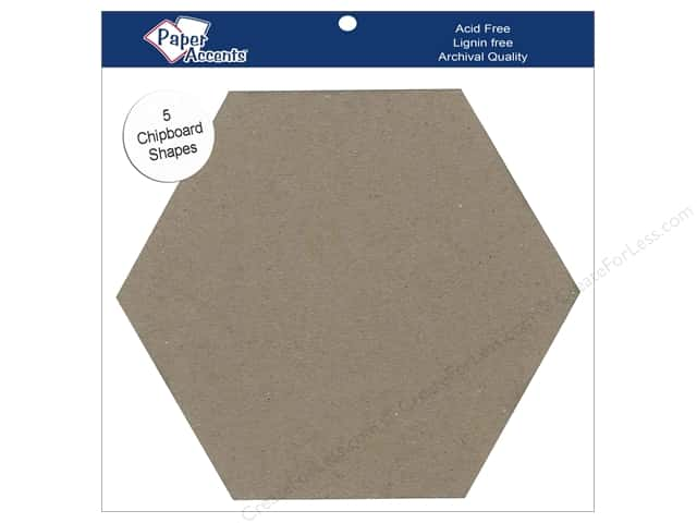 Paper Accents Chipboard Shape 7 1/2 in. Hexagon 5 pc. Kraft