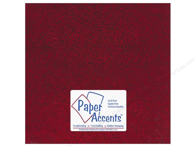 Paper Accents Adhesive Vinyl 12 x 12 in. Removable Sparkle Red (12 sheets)