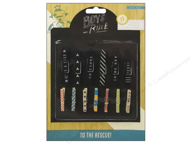 Crate Paper Embellishments Boys Rule Clothespins Chalkboard/Wood